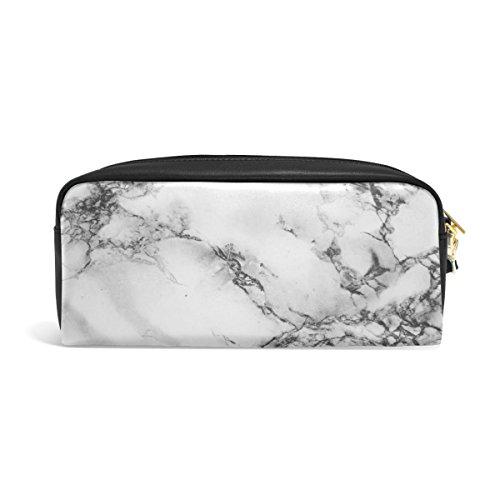zzkko Abstrakt Marmor Leder Reißverschluss Federmäppchen Pen Stationäre Bag Kosmetik Make-up Bag Tasche Geldbörse (Pen Kleine Pouch Leder)