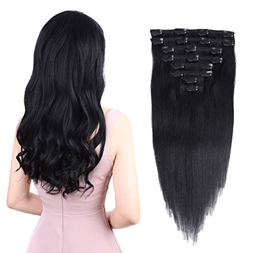 Remy Hair Extensions Human Hair Clip In 18 Inches 110g Jet Black 1 Color 8pieces Double Weft Straight Real Hair Extension Clips Human Hair For Women