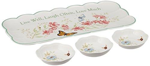Lenox Butterfly Meadow Gefühl Löffelablage, Cherish Yesterday, Dream Tomorrow Heute Leben, 8–1/2Zoll Tablett Hors D'Oeuvres Weiß (Butterfly Meadow-chip)