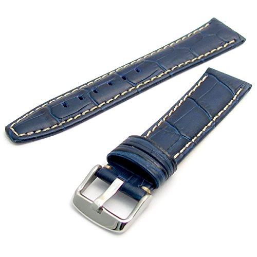 Super Uhrenarmband Croc genarbtem Leder gepolstert Kontrast genäht 22mm blau (Super Croc)