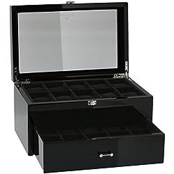 Piano Black Watch Sammler Box mit Schublade für 20Handgelenk Uhren von aevitas