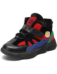 Zapatillas Altas de Invierno para niños Zapatillas de Deporte Calientes con Velcro Girls Boy Zapatillas de Deporte de Felpa de Cuero Negro