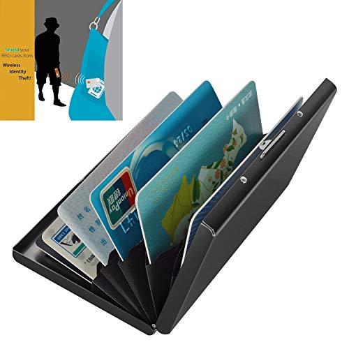 Kartenetui, RFID-Kartenschutz, Kreditkartenschutz, Geldbörse aus Edelstahl mit 6 PVC-Schlitzen (schwarz) -