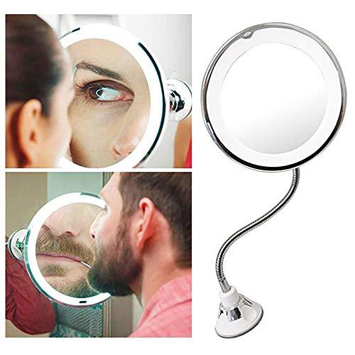 Kosmetische Spiegel-LED Beleuchtet mit 10x Vergrößerung und Saugnapf, 360 °-Schwenk, Make-up-Spiegel Make-up Spiegel mit blendfreier Beleuchtung für zu Hause und unterwegs unterwegs -