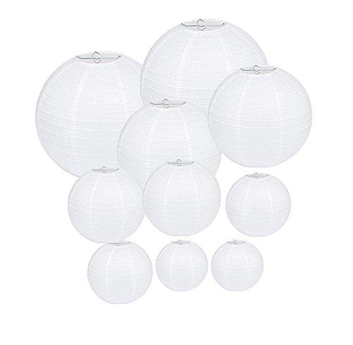 NzamBles Papierlaterne, 10 Stück Weiße Papier Laterne Lampions Rund Lampenschirm für Hochzeit Dekoration Papierlaterne - Verschiedene Größen