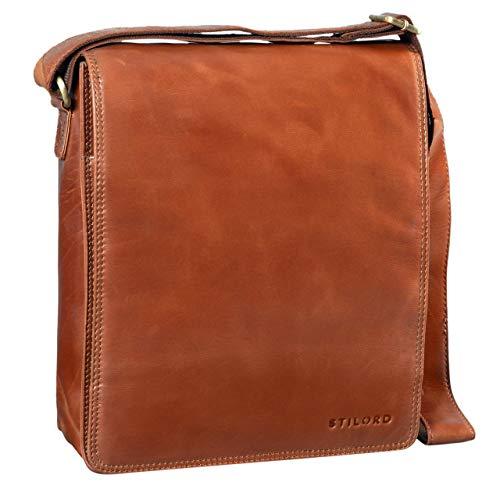 STILORD 'Lars' Vintage Umhängetasche Leder Herren für 13,3 Zoll Tablet MacBooks und iPad Schultertasche Herrentasche Messenger Bag Echtleder, Farbe:Cognac - glänzend