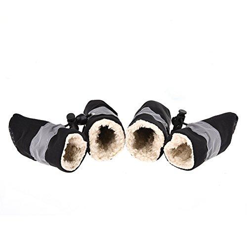 Jannyshop 4PCS-Set Winter Hundeschuhe Warm Pfotenschutz mit Fleece Haustierschuhe Anti-Rutsch & Wasserdicht für kleine mittlere und große Hunde Katzen 2/3/4/5