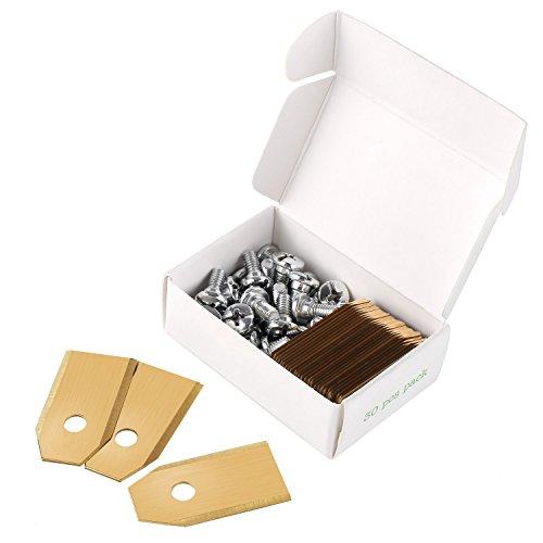 MVPOWER 30x Titan-Beschichtung Messer Klingen für alle Husqvarna® Automower® / Gardena Mähroboter - (3g - 0,75mm) inkl. 30 Schrauben - Diese Ersatzmesser passen für 105, 310, 315, 320, 420, 430x, r40i uvm