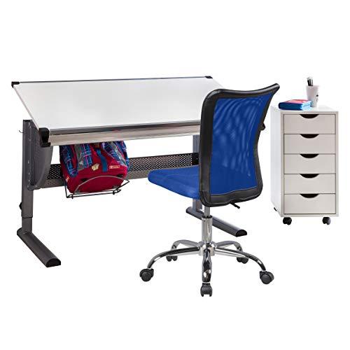 FineBuy Kinderschreibtisch mit Stuhl und Rollcontainer Kinderzimmer-Büro | Schülerschreibtisch Holz | Kinder-Schreibtischstuhl Teppichbodenrollen | Rollcontainer mit 5 Schubladen | Komplettsett