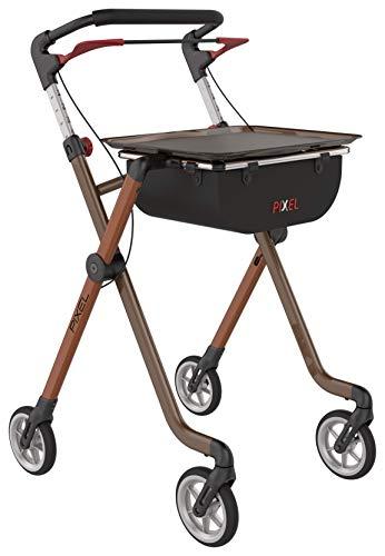 Indoor Rollator schmal mit Tablett PIXEL Leichtgewichtrollator in TOP-Qualität! Farbe: Toffee & Braun nur 54cm breit! Rollator faltbar und leicht für die Wohnung
