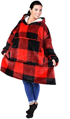 Tirrinia Übergroße Sherpa Hoodie Sweatshirt Decke, weiche warme Riesen Hoodie Fronttasche Erwachsene Männer Frauen Jugendliche -
