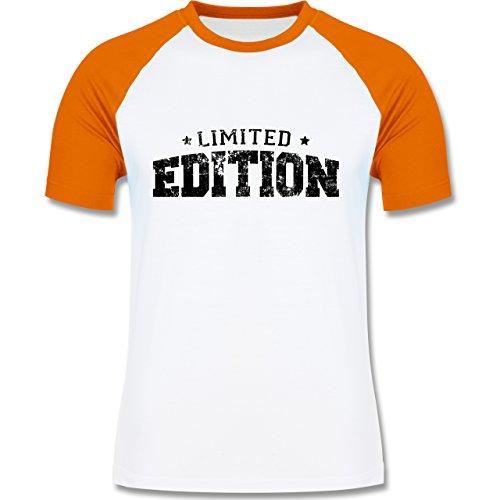 Statement Shirts - Limited Edition Vintage - zweifarbiges Baseballshirt für Männer Weiß/Orange