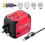 VGUARD Adaptateur de Voyage avec 2 USB Adaptateur Universel Pris de Courant pour UE/US/UK/AUS Utilisé dans Plus de 150 Pays Adaptateur Chargeur avec Deux fusible (fusible de Rechange) - Rouge