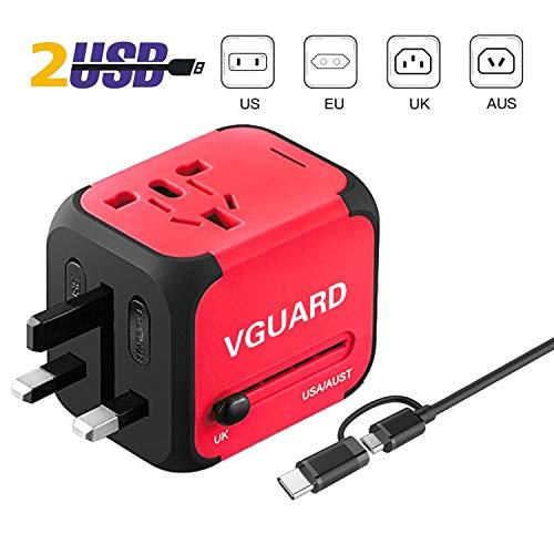 VGUARD Adaptador Enchufe Ingles de Viaje Universal Cargador Internacional con MAX 2.4A...