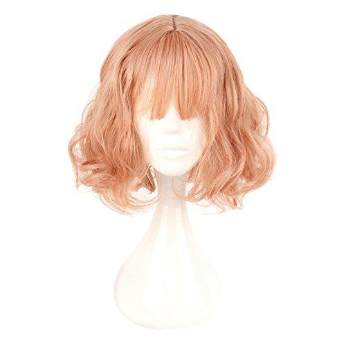 lisanyeu Damen 35cm prestyled flach Pony mittleren Teil Haar Pastell Pink Lovely Girl Täglich Cosplay Perücke