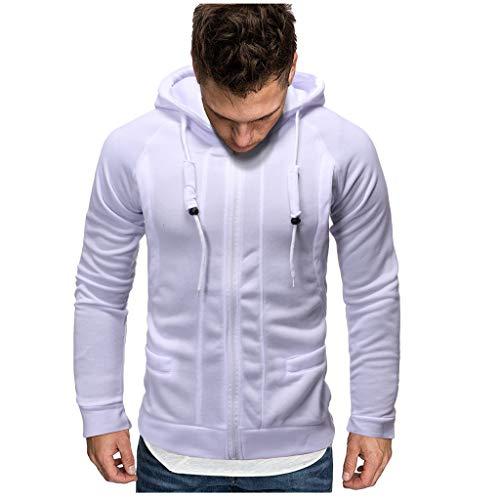 Herren Slim Solid Color Sweater Zipper Dekorativer Hoodie, Herren Herbst Winter Solide Langarm Reißverschluss Kapuzenpullover Sweater Coat Top (Marine Sweatshirt Yamaha)