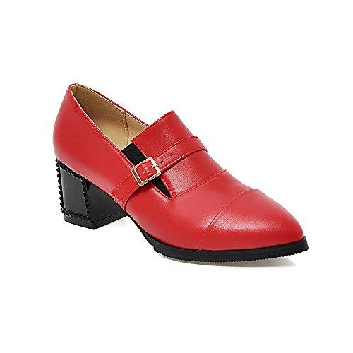 AllhqFashion Damen Rein Pu Mittler Absatz Spitz Zehe Schnalle Pumps Schuhe Rot