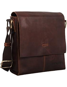 STILORD 'Malte' Kleine Messenger Bag Leder Herren Vintage Schultertasche Umhängetasche für 9.7 Zoll Tablet iPad...