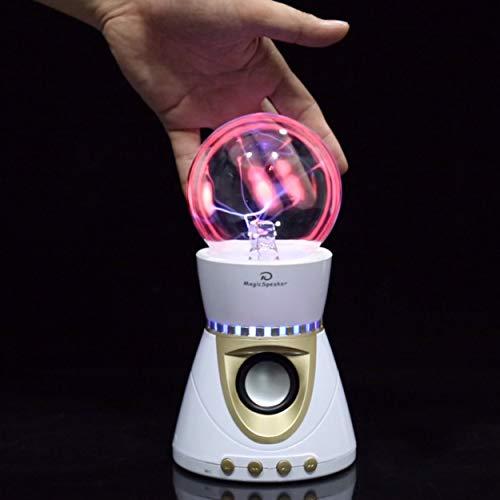 Lorenlli Elektrostatische Plasma-Kugel Bluetooth-Lautsprecher Magic Light Touch Wireless 3D Stereo Subwoofer Blitz Ball Musik Lautsprecher Weiß