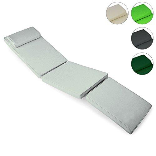 Sitz-Auflage Polster für Deckchair Steamer Holzliege Liegestuhl hochwertig grau
