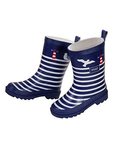 maximo Unisex Kindergummistiefel, Babygummistiefel, Regenstiefel, Navy/weiß, Modell Maritim aus Naturkautschuk (33 EU)