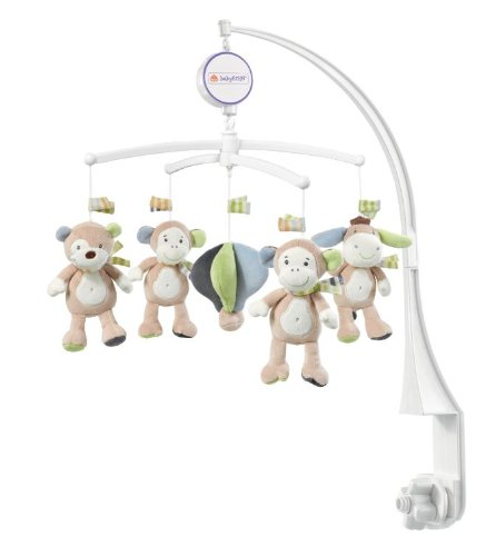 Fehn 081381 Musik Mobile Affe - Spieluhr-Mobile mit Esel, Affe und Koala in sanften Farben zum Lauschen & Staunen / Zum Befestigen am Bett für Babys von 0-5 Monaten / Höhe: 65 cm, ø 40 cm