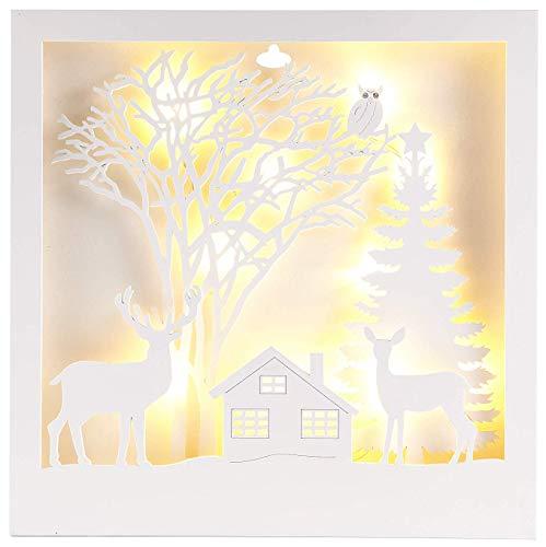 HEITMANN DECO LED-Holzbbild Merry Christmas - Deko mit LED-Beleuchtung - beleuchtetes Weihnachtsbild batteriebetrieben