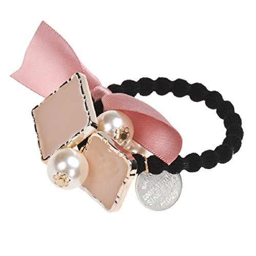 Square Pearls Elastic Hair Bands Ponytail Holder Hair Accessories Girls Headwear Pink