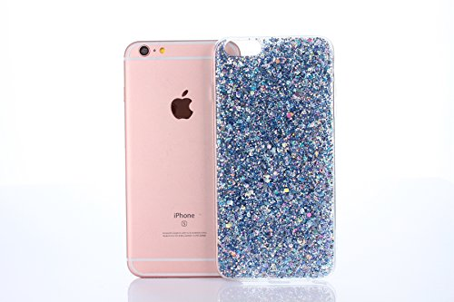 iPhone 7/8 Plus Coque de Luxe,iPhone 7/8 Plus Case Shockproof,Hpory Beau élégant Luxury Cristal Clair Bling Diamant Strass Brillante Bling Ring Stand Holder Ultra Thin PC dur + TPU Gel Silicone Etui H Paillette,Bleu