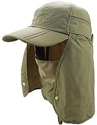 GenialES 360 Grados Protección UV50+ Pasamontañas Sombrero con Máscara Capa de Cuello Desmontable Unisexo para Pesca Senderismo Trabajo Jardín Caqui