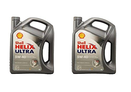 Shell Helix Ultra 5 W40 Lot de 2 bidons de lubrifiant pour moteurs essence et diesel de 4 l = 8 litres