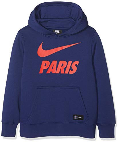 Nike Kinder Paris Saint Germain Hoodie, Blau (Black/Loyal Blue/Challenge Red), S Printed French Terry Hoodie