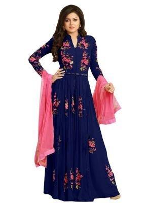 BMR Women's Georgette Semi Stitched Salwar Suit Sets (Blue)