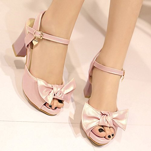 TAOFFEN Damen Mode Peep Toe Blockabsatz Slingback Sandalen mit Bogen Rosa