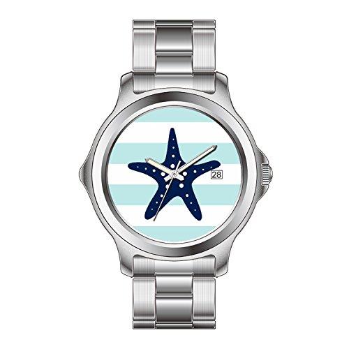 FDC regalo di natale orologi da donna Orologio al Quarzo Giapponese Data braccialetto di acciaio inossidabile Blu Stella Marina su menta e Bianco Righe nautiche