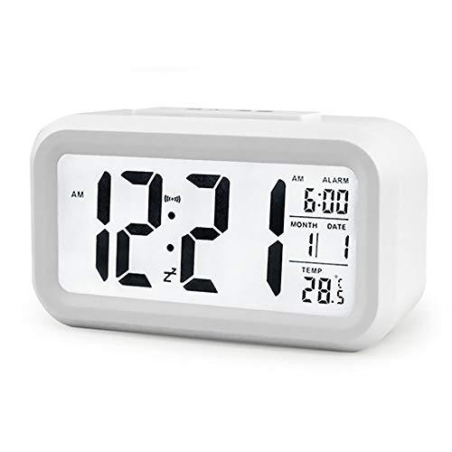 Reloj despertador digital de pantalla grande con indicador de temperatura, calendario, fecha, viaje...