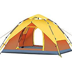 XAJGW Tente Pop-up de Camping Automatique pour 3-4 Personnes Version Mise à Jour de la Tente hydraulique Double Couche étanche à la Tente en dôme avec Sac de Transport (Couleur : Le Jaune)