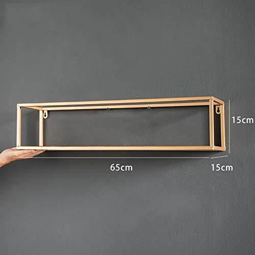 JH Wand-Lagerregal Eisen Wand hängen Regal Zimmer Dekoration Bücherregal schwimmende Einheit Lagerung Display Rack Gold -