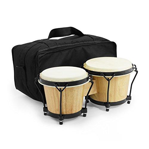 World Rhythm Bongo Drums in natur lackiert–Holz-Bongos für Anfänger Mit gepolsterter Tasche natur