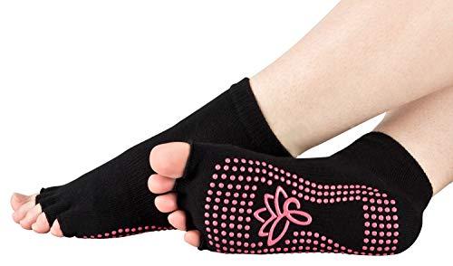 Piarini schwarz 1 Paar offene Zehensocken kurz ABS Socken Baumwolle Yoga-Socken offenen Zehen Pilates-Socken Fitness 35 36 37 38