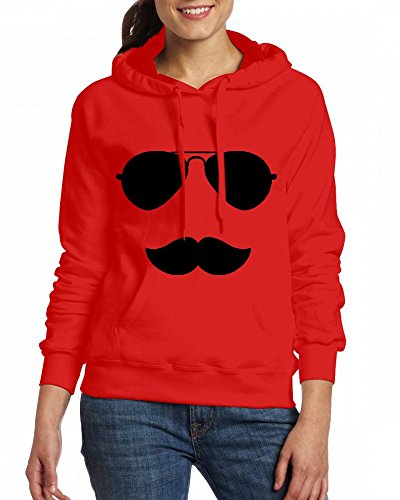 Custom Womens Hooded - Design Sunglasses and Moustache Hoodies Red