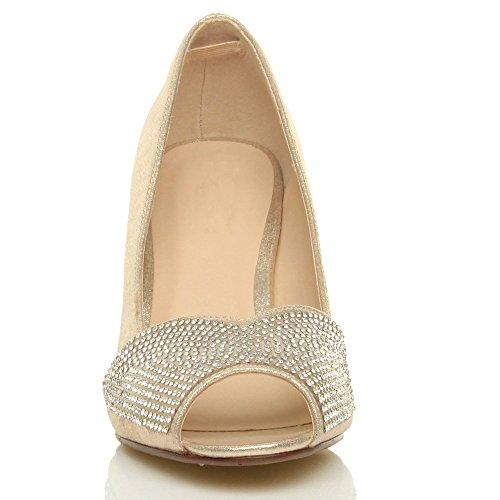 Toe Sapatos Strass Alto Peep Tamanho À Ouro Cintilante De Sandálias Casamento De Salto Noite Senhoras De Rq1wxX8x