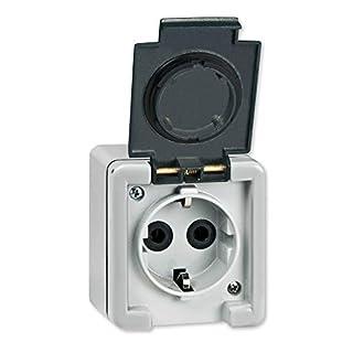 Aufputz Schutzkontakt Steckdose 16A/250V~ / IP55 (Metallausführung) Grau mit Klappe in Anthrazit