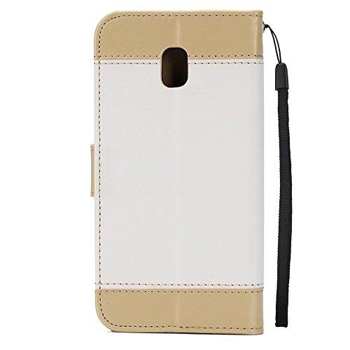 Gemischte Farben Rose Blume matt Premium PU Leder Brieftasche Stand Case Cover mit Lanyard & Card Slots für Samsung Galaxy J330 ( Color : Pink ) White