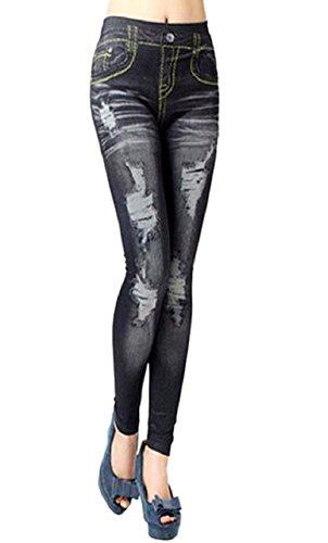 (nero) leggings donna effetto jeans strappato pantacollant taglia unica aderente elasticizzato idea regalo