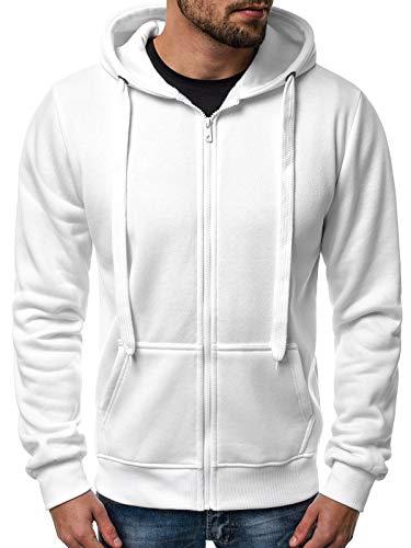 OZONEE Herren Zip Hoody Reißverschluss Fleece Sport Fitness Training Sweatshirt Hoodie Sweatjacke Kapuzenpullover J.Style 2008 WEIß L
