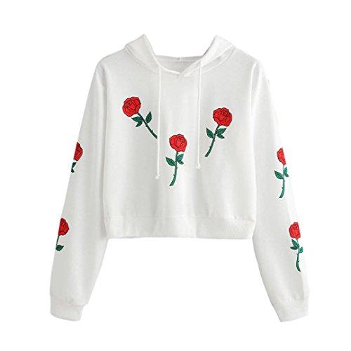 Bluestercool Femmes Fleur Imprimé Sweat à Capuche Manche Longue Casual Sweat-shirt Tops Blanc
