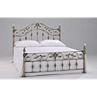 Elizabeth 5ft King Size Brass Bed with Crystal Finials by Harmony Beds