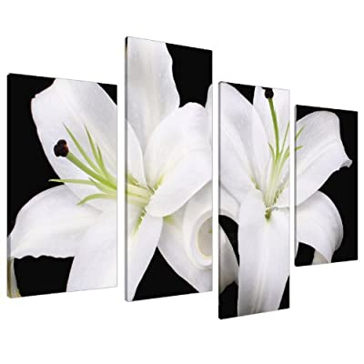 Large Floral Black White Orchids Canvas Wall Pictures Prints Art 4128