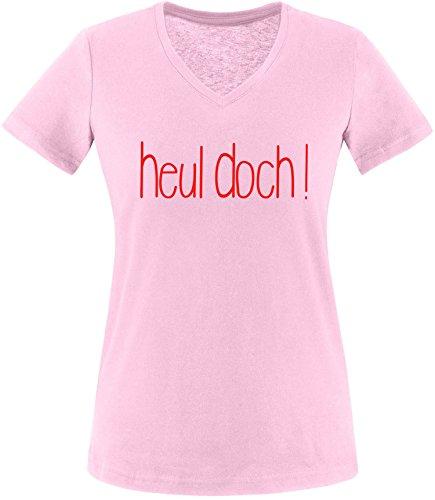 EZYshirt Heul doch ! Damen V-Neck T-Shirt Rosa/Rot